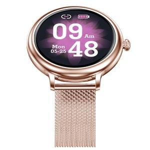 Image 2 - RUNDOING NY12 שעון אופנתי לנשים חכם שעון עגול למסך עגול עבור צג קצב לב הילדה תואם לאנדרואיד ו  IOS