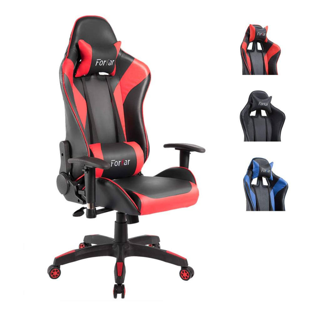 Terrific Us 96 6 31 Off Computer Gaming Chair Racing Style Pu Leather Swivel Ergonomic Office Chair Adjustable Height With Headrest And Lumbar Support On Pdpeps Interior Chair Design Pdpepsorg