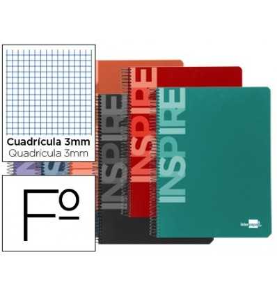 SPIRAL NOTEBOOK LEADERPAPER FOLIO INSPIRE HARDCOVER 80H 60 GR TABLE 3MM MARGIN ASSORTED COLORS 10 Pcs