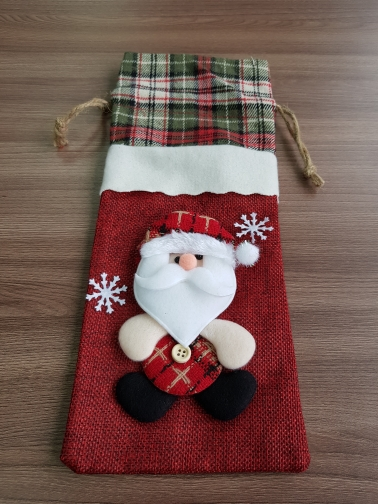 Santa Claus Wine Bottle Cover Merry Christmas Decorations photo review