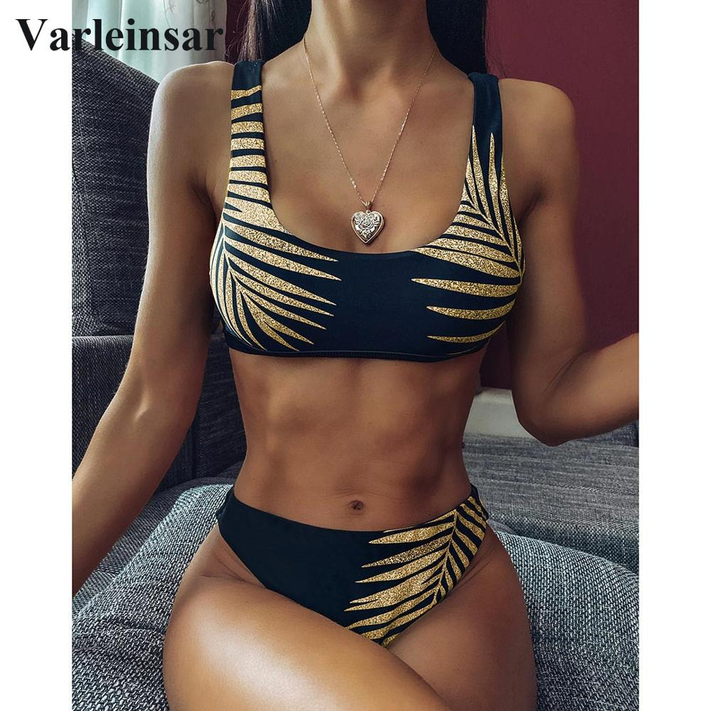 2020 New Sexy Leave Print Female Swimsuit High Waist Bikini Women Swimwear Two-pieces Bikini set Bather Bathing Suit Swim V1795
