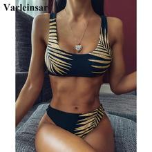 2020 New Sexy Leave Print Female Swimsuit High Waist Bikini Women Swimwear Two-pieces Bikini set Bather Bathing Suit Swim V1795