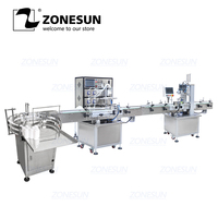 ZONESUN Production Line for Juice Milk Small Automatic Bottle Alcohol Hydrogen Peroxide Liquid Turntable Capping Filling Machine