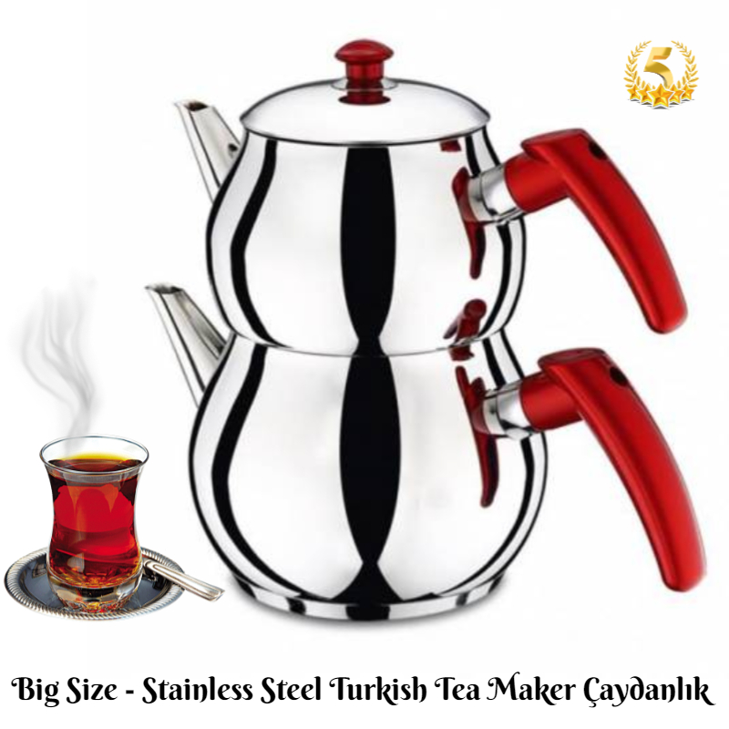 Stainless Steel Turkish Style Tea Maker Set Kettle Sets 3 Different Sizes 4-6-10 Person High Quality Material FAST SHIPPING