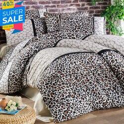 Señora Moda Leopardo de lujo de lino de cama de algodón conjunto Ranforce juego de cama doble/completo/Queen/King Size 3/4/5 Uds juego de sábanas de edredón