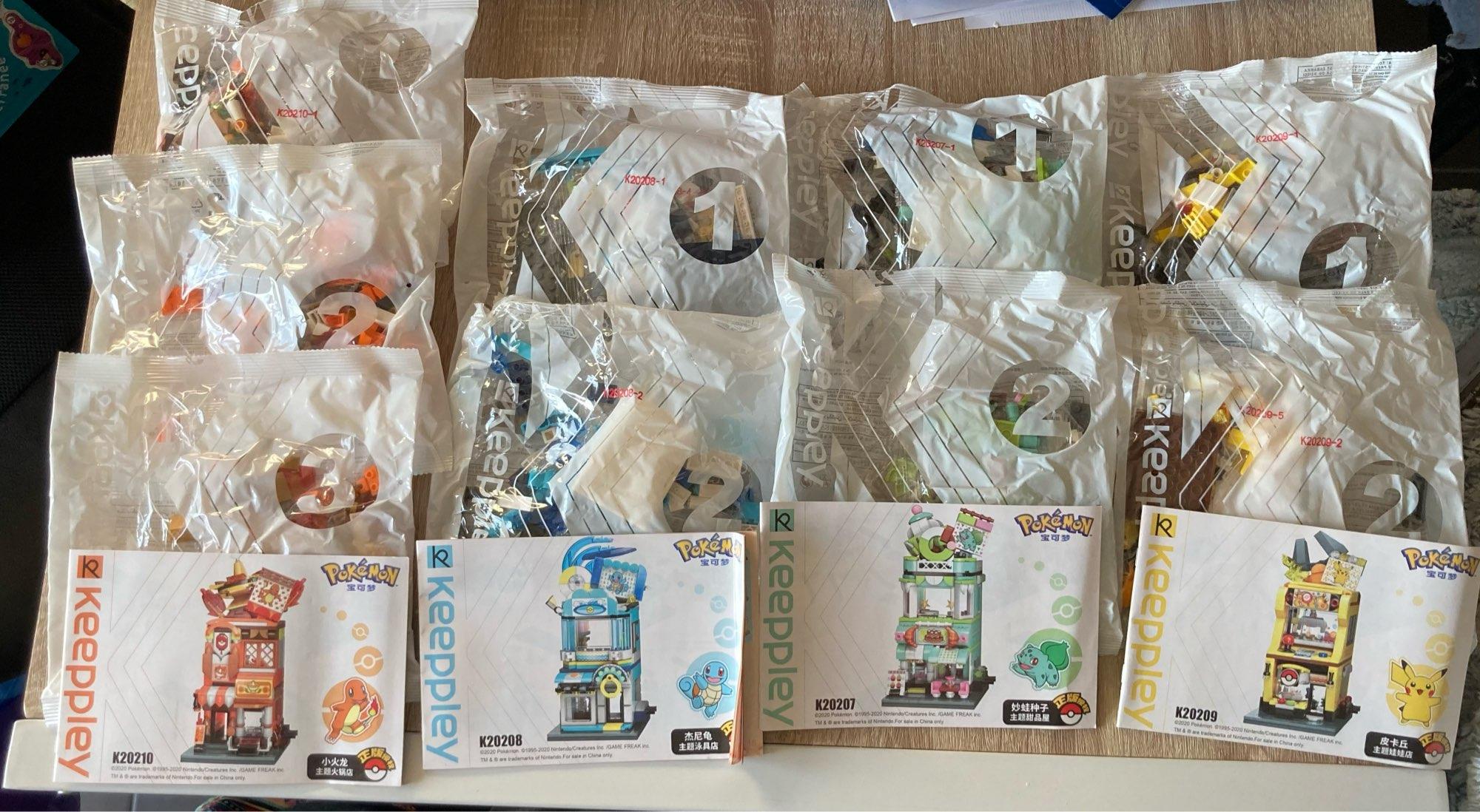 4pcs 2020 New Pokemon Pikachu Street View Pikachu Wonder Frog Seed Building Block Toy Model Set Children Christmas Gift photo review