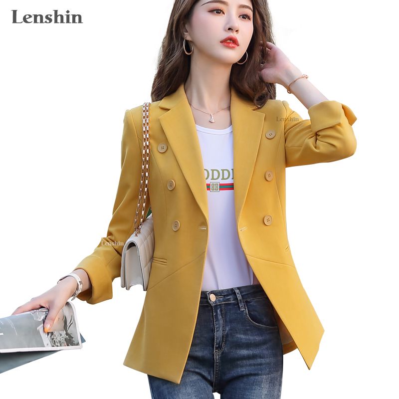 Lenshin Women Elegant Fashion Candy Colour Jacket With Pockets Blazer Keep Slim Double Breasted Office Lady Simple Style Outwear