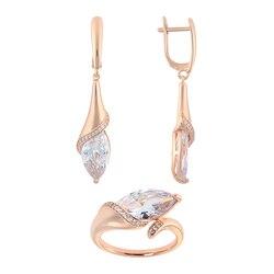 Модная бижутерия для женщин комплекты QSY под золото, серебро.Длинные висячие серьги-капли с камнем.Женское кольцо с цирконом