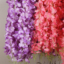 DIY 110cm Silk Wisteria Flowers Vines Garland Fake Silk Wisteria Wedding Party Decor Hanging Rattan Home Decoration garland flowers wedding decoration artificial hydrangea vine party plastic flowers wall decor rattan silk flower wisteria wreath