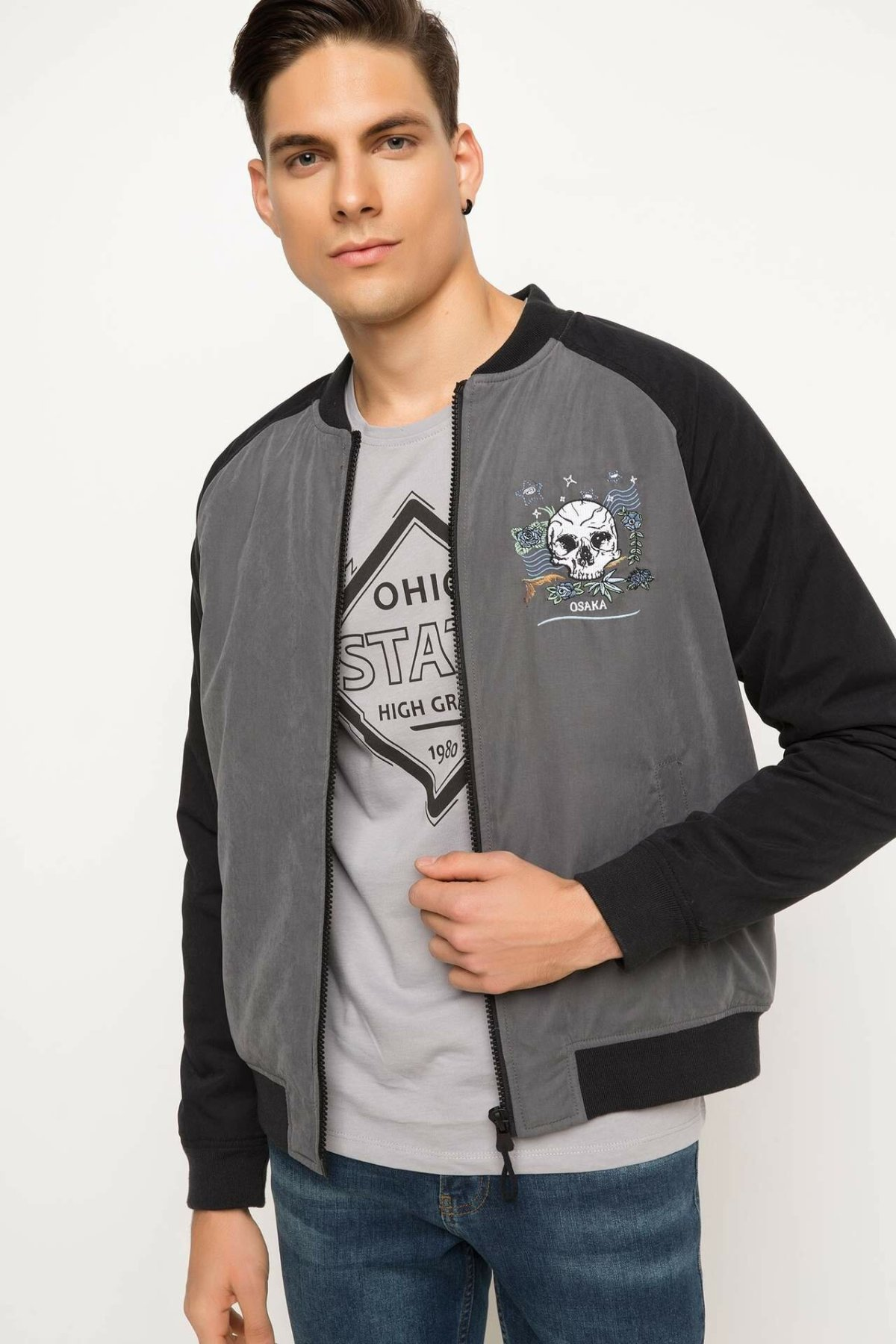 DeFacto Man Spring Casual Cotton Coats Men Long Sleeve Light Grey Top Coats Men Patchwork Top Coats-H8295AZ18SP