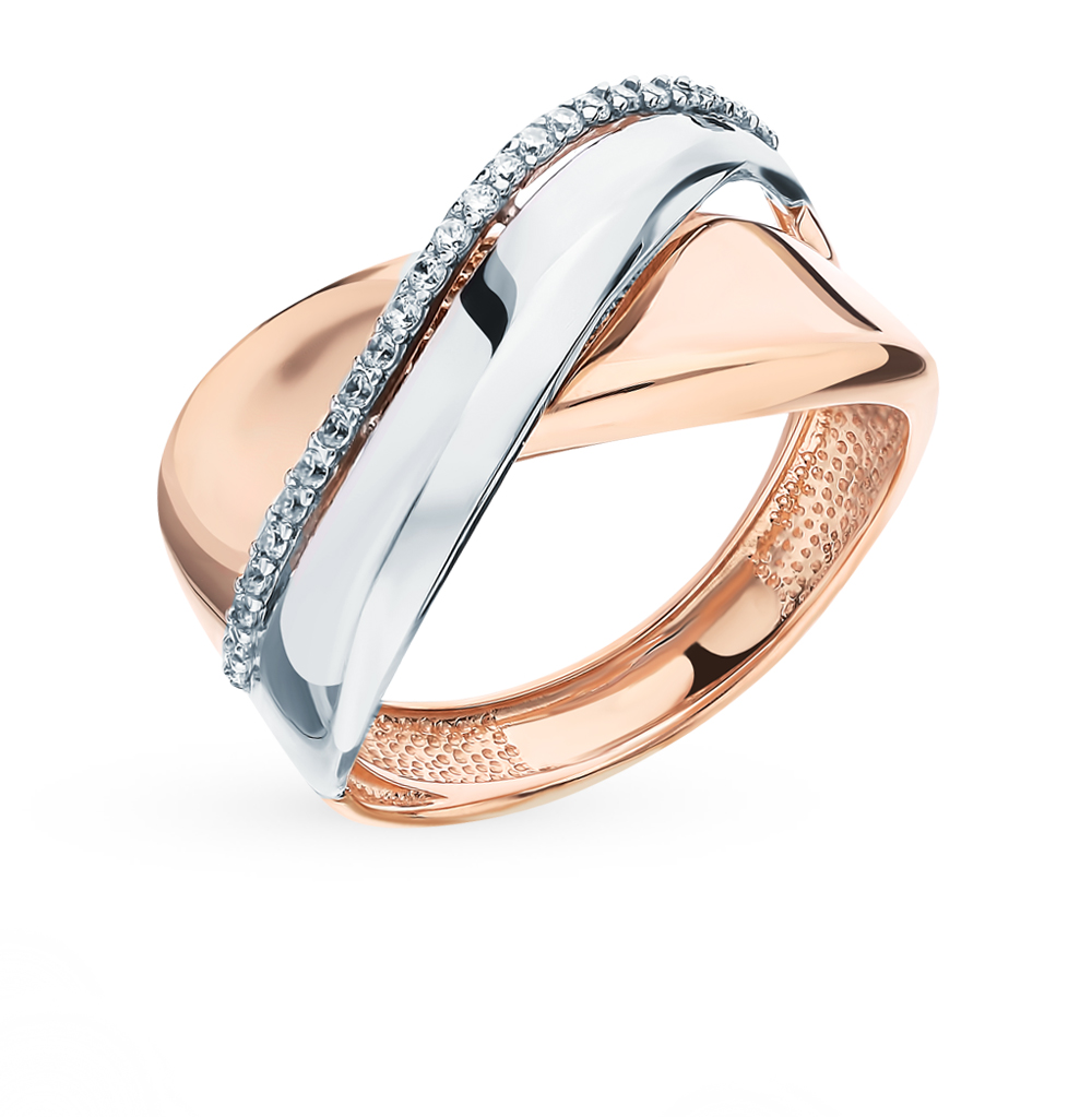 цена на Gold ring with cubic zirconia SUNLIGHT test 585