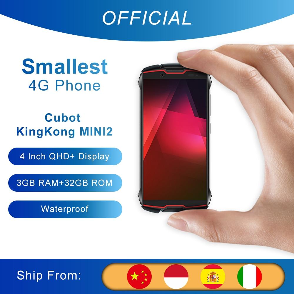"Cubot kingkong mini2 telefone áspero 4 ""qhd + tela impermeável 4g lte duplo-sim android 10 3gb + 32gb 13mp câmera mini telefone face id Cubot King Kong MINI 2"