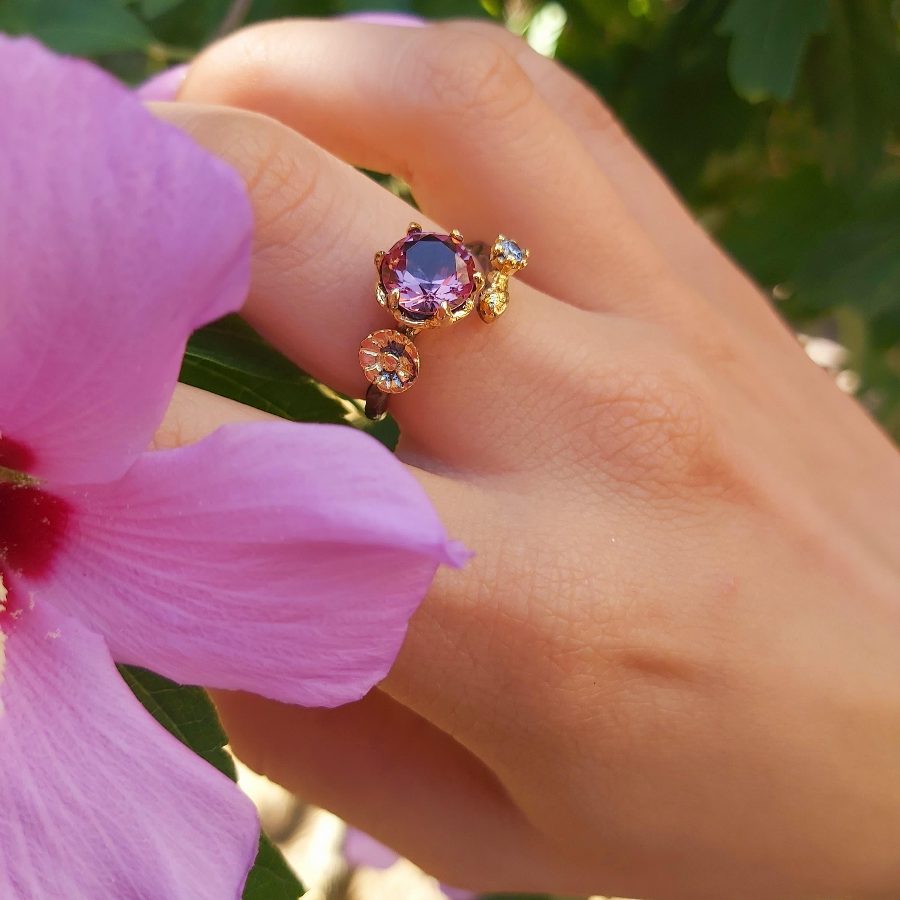 Diaspore элегантные ювелирные изделия из чистого серебра в форме цветка кольцо для женщин Zultanite S925 кольцо ручной работы дизайн