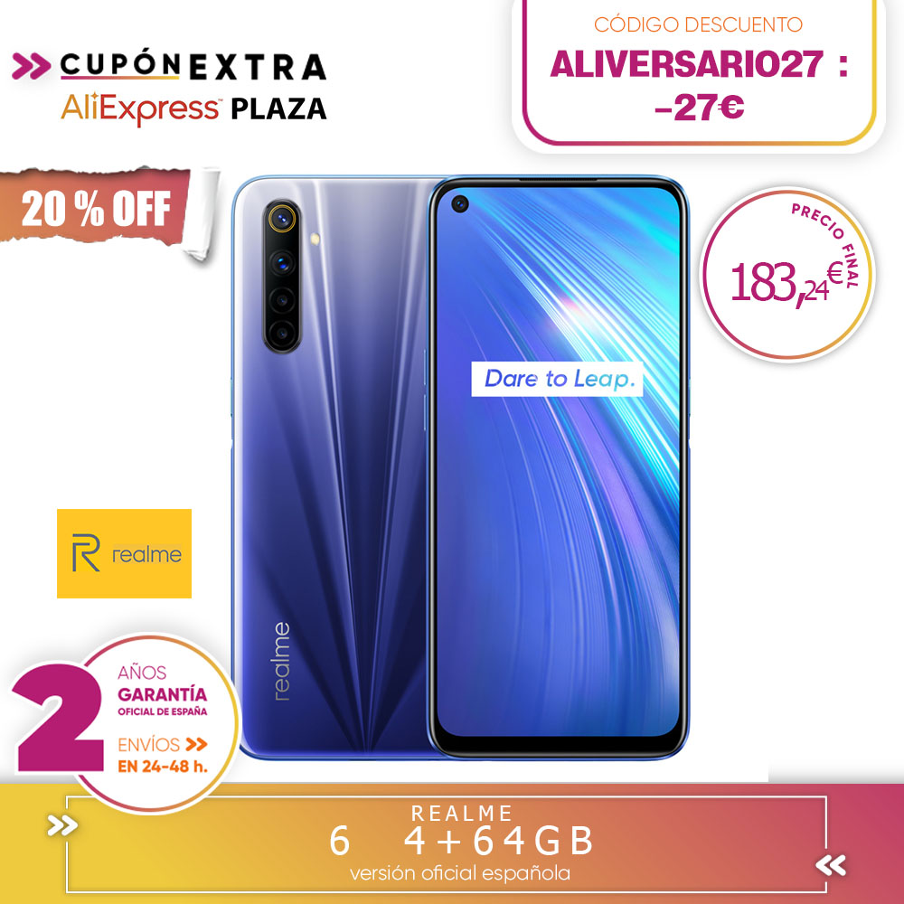 [Official Spanish Version Warranty] Realme 6 4 + 64gb, 4 + 128gb, 8 + 128gb Smartphone Octa Core, Four Cameras, Reader Side Paw Prints