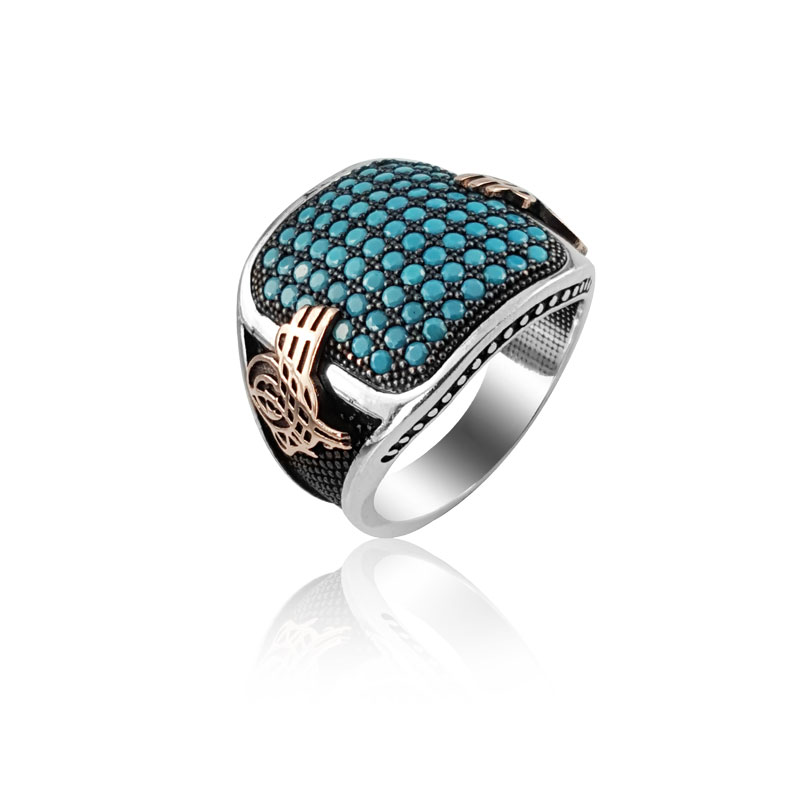 Original Hot Selling Rings Antique New 925 Sterling Turquoise Silver Ottoman Tugra Dirilis Ring Turkish Ring for Men Man Rings(Turkey)