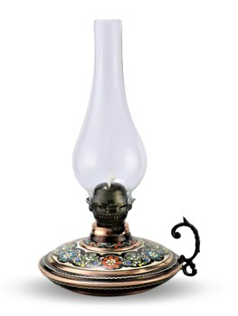 SONAYCOPPER Turkish Handmade Flat Rose Flower Decorative Gas Lamp, Cottage Lamp, Lantern, Oil Lamp, copper Gas Lamp