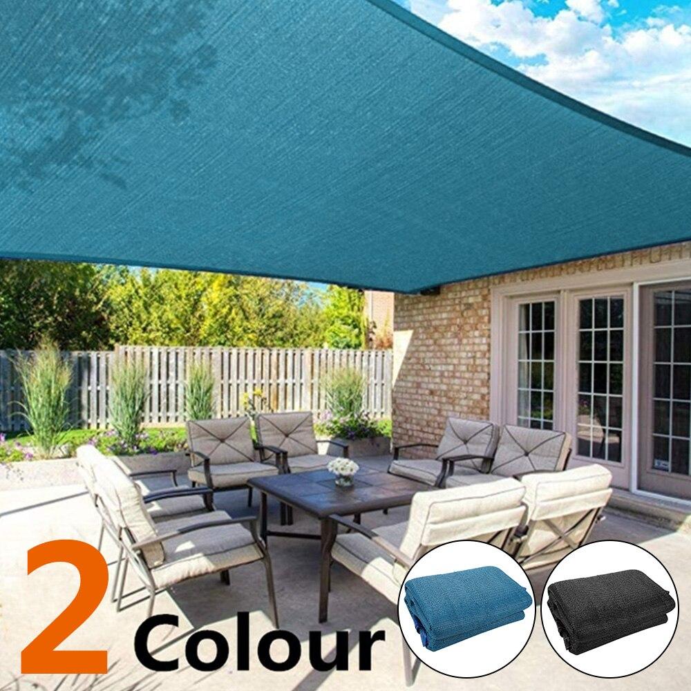 Capa protetora contra solar para acampamento, pe, áreas externas, caminhadas, quintal, jardim, abrigo, tela solar, à prova d água, preto, cor azul
