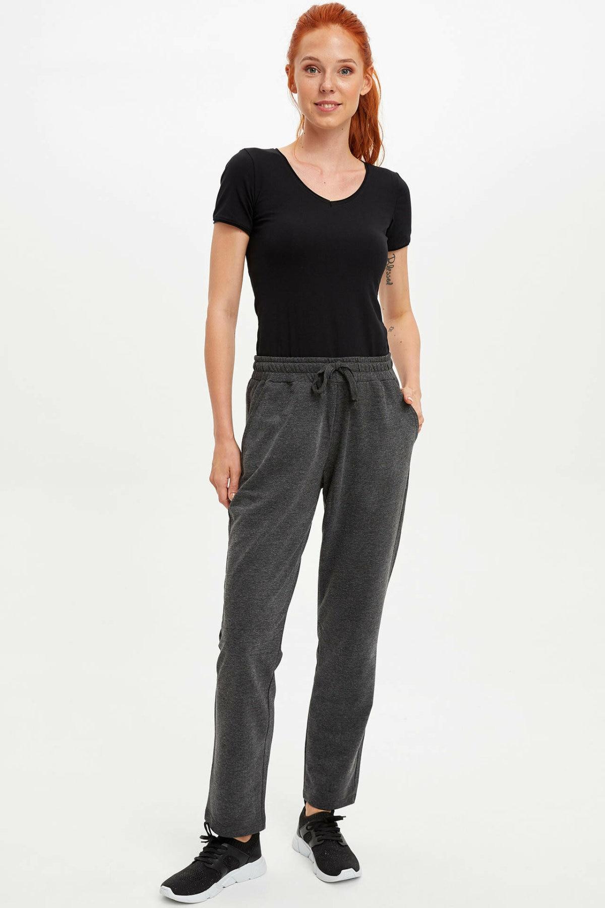 DeFacto Women Casual Loose Grey Long Trousers Female Ankle-length Adjustable Harem Pants Sports Wear-L5488AZ19AU
