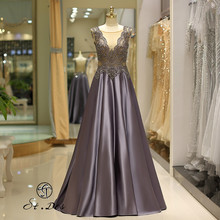 NEW 2020 St.Des A-line Russian V-neck Gray Beading Sleeveless Royal Beauty Queen Floor Length Evening Dress Party Dress