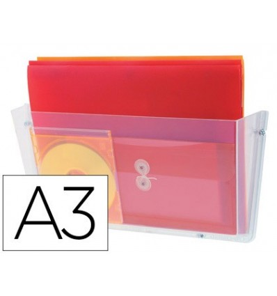 EXHIBITOR MURAL FILE 2000 WALL POLYSTYRENE WITH 1 COMPARTMENT TRANSPARENT DIN A3 HORIZONTAL