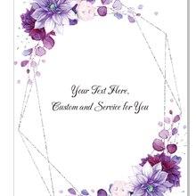 Greenery-Leaf Invitations Acrylic Floral Graduation Custom Light Wedding Purple 10pcs