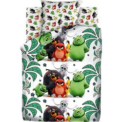 Baby bed linen 1,5 sp Angry Birds Bird island, green
