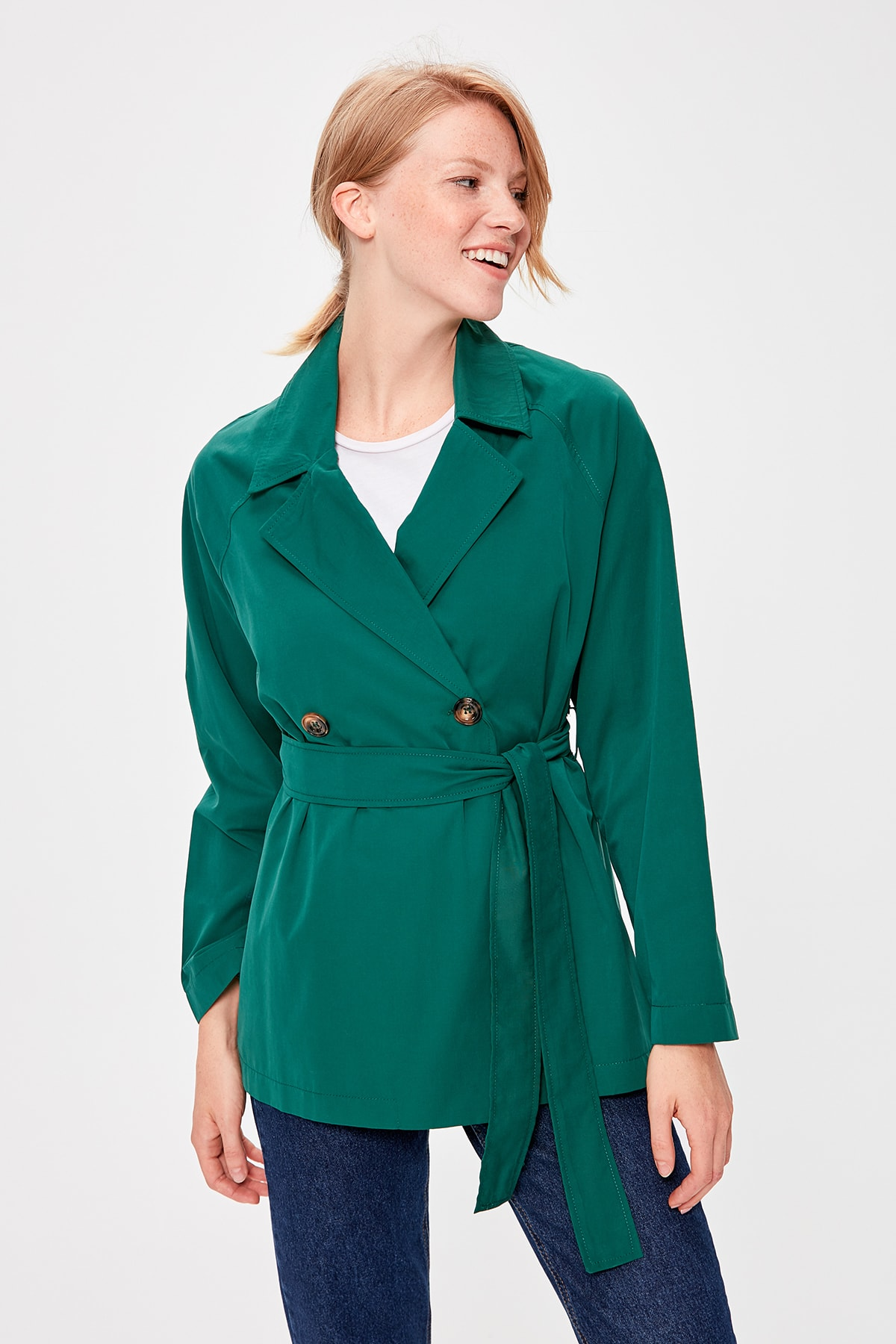 Trendyol Green Girdled Short Trench Coat TWOAW20TR0021