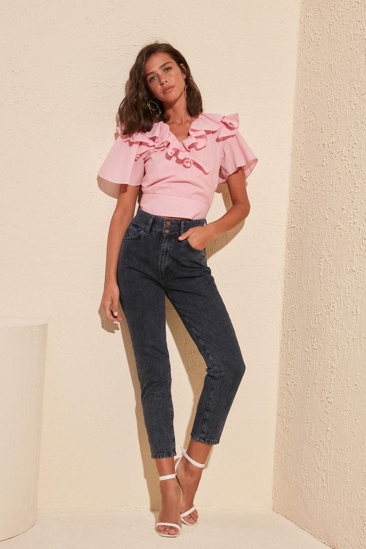 Trendyol Button Detail Super High Waist Mom Jeans TWOSS20JE0187