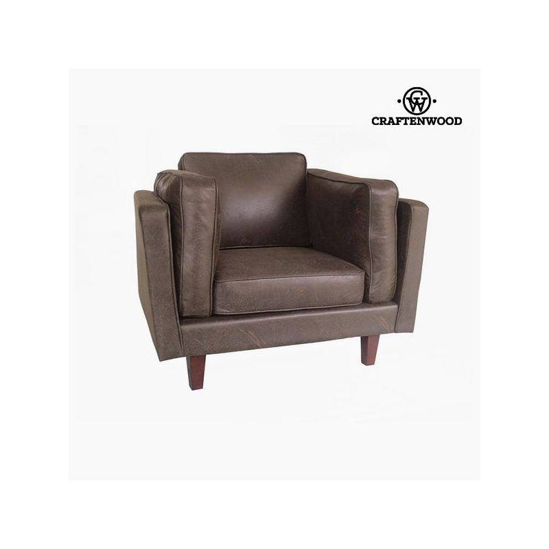 Armchair Leatherette Brown (104x92x80 Cm) By Craftenwood