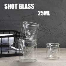 Transparent Shot Glass Double Layer Wine Shot Glass Cup Skull Head Glass For Whiskey Wine Vodka Bar Club Beer Cocktail Small Cup creative cool skull designed vodka whiskey shot glass transparent 70ml