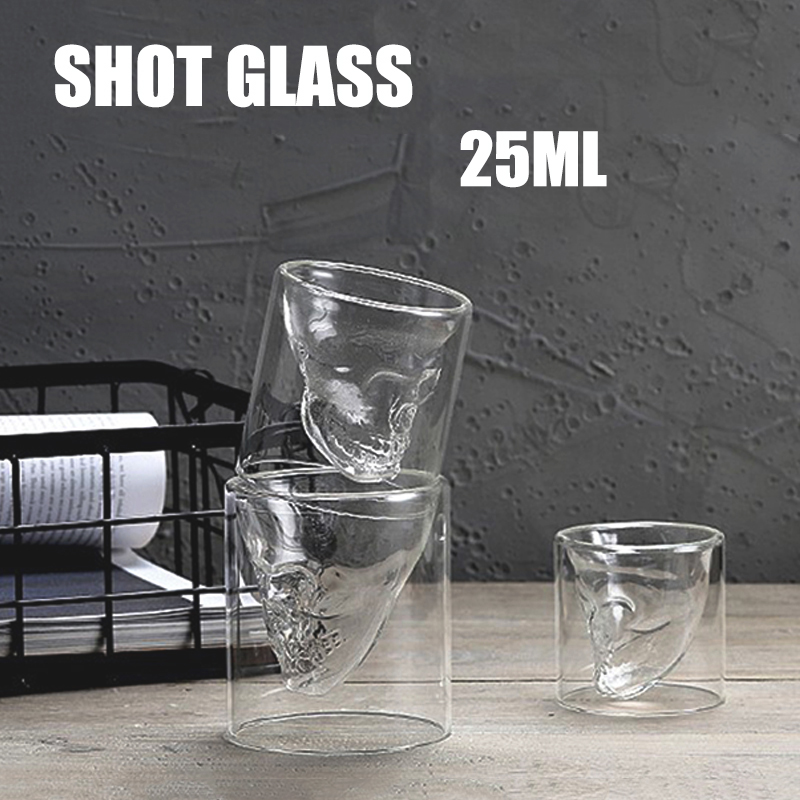 Transparent Shot Glass Double Layer Wine Shot Glass Cup Skull Head Glass For Whiskey Wine Vodka Bar Club Beer Cocktail Small Cup image