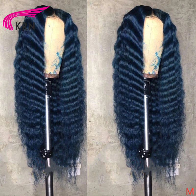 "KRN Colorful 13X6 Lace Front Human Hair Wig Middle Ratio 8""-26""blue Wavy 180 Density Pre Plucked Remy Hair With Baby Hair"
