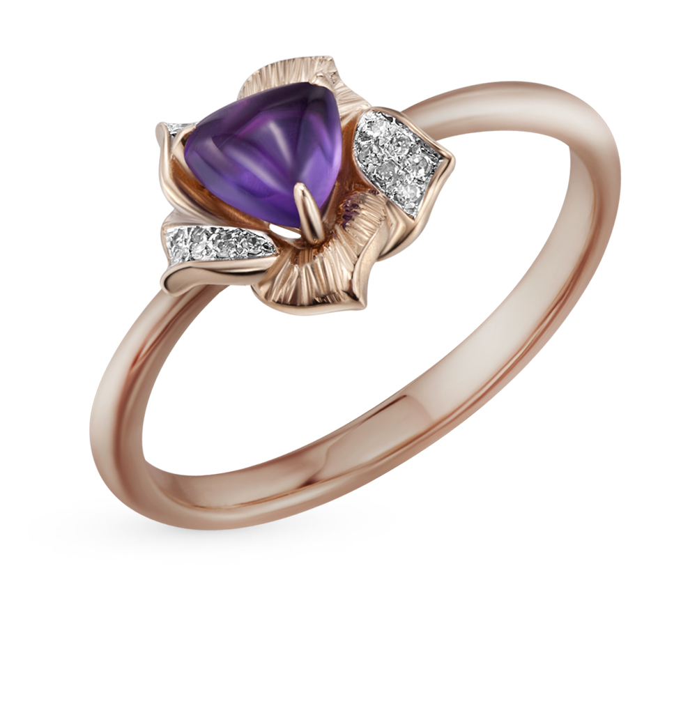 Gold Ring With Amethyst And Diamonds SUNLIGHT Test 585