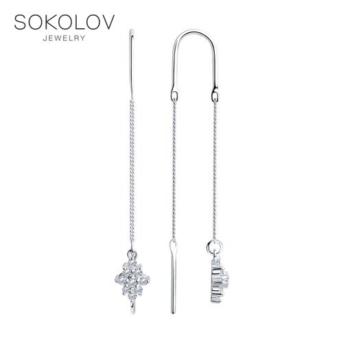 Drop Earrings,with Stones,with Stones,with Stones,with Stones,with Stones,with Stones,with Stones, Chains SOKOLOV Silver With Cubic Zirconia Fashion Jewelry 925 Women's Male