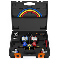 Elitech DMG 3 AC Manifold Gauge Set 2 Way Fits R134A R410A and R22 Refrigerants with Hoses Coupler Adapters+ Carrying Case