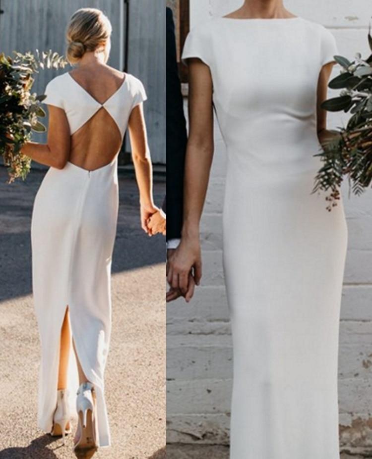 Scoop Open Back Sheath Plain Satin Wedding Dress Bridal Gown