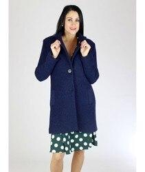 WRAP WOOLEN COOKED Jacket Long Women Fashion Casual Navy Blue Parka Elegant