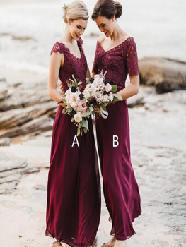 Latest Mix Match Style Burgundy Lace Bodice Bridesmaid Dresses Long V Neck Maid of Honor Gowns Cap Sleeves burgundy lace details crew neck long sleeves high waisted dresses