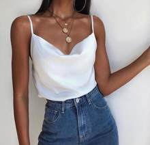 Sexy white satin tank top with thin straps, V-Neck Sleeveless Loose Tops, made in Turkey, best quality()