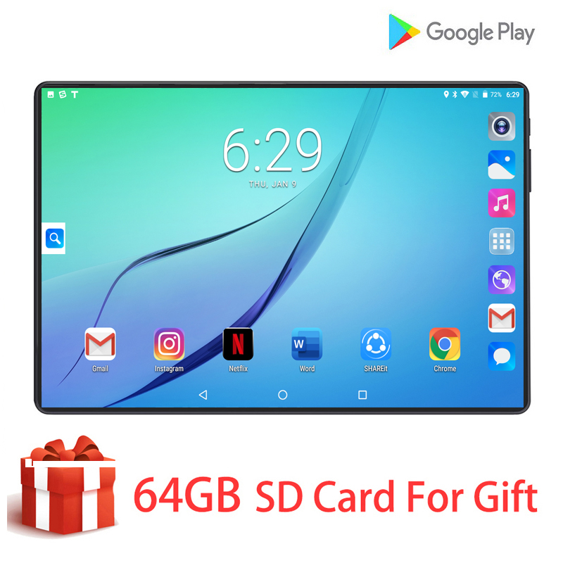 New 2.5D Dual Tempered Glass 4G LTE 10 Inch Tablet PC 8 Core 6GB RAM 128GB ROM Tablet Android 9.0 GPS Wifi Bluetooth Tablet 10.1