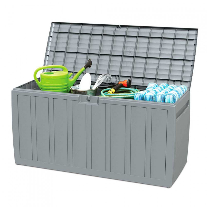 Outdoor chest 270 litres gray resin 117x45,5x57cm GH91