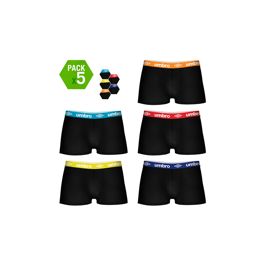UMBRO Calzoncilos Type Boxer Pack 5 Units In Black Color With Waist Multicolor For Men