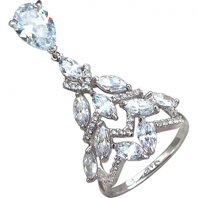 Sokolov Ring With 43 Cubic Zirconia Silver
