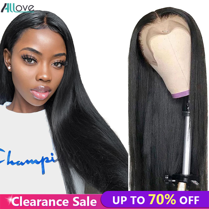 Allove Straight Human Hair Wigs For Black Women 13X4 Lace Front Human Hair Wigs Pre Plucked Malaysian Straight Lace Front Wig