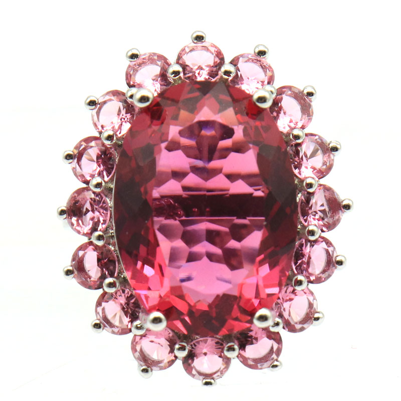 21x20mm SheCrown Red Blood Ruby White CZ Wedding Woman/'s Silver Ring US 7.5#