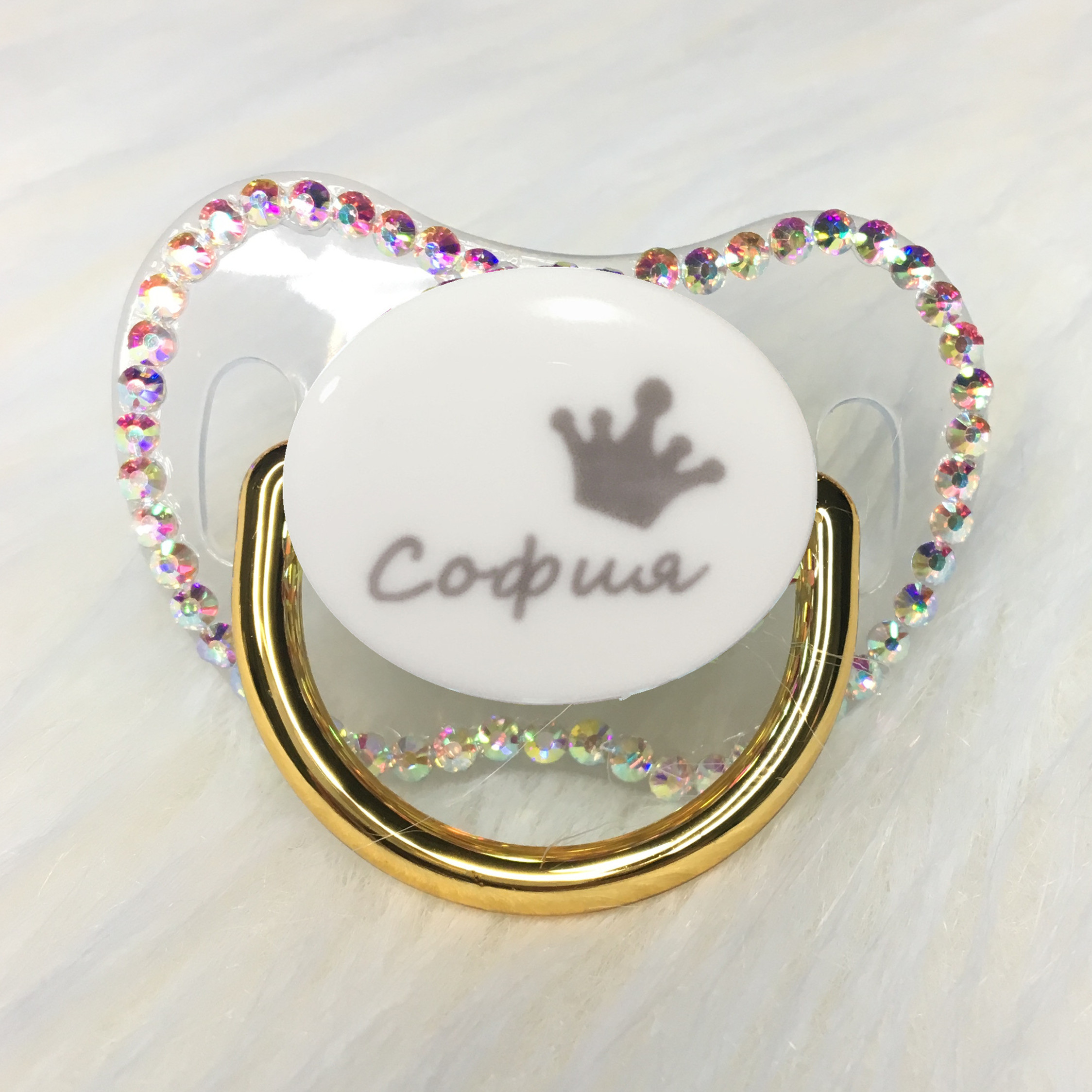 MIYOCAR Custom Any Name Can Make Gold Bling Rhinestone Pacifier Colorful Dummy Black BPA Free Dummy Bling Baby Shower PCC-C