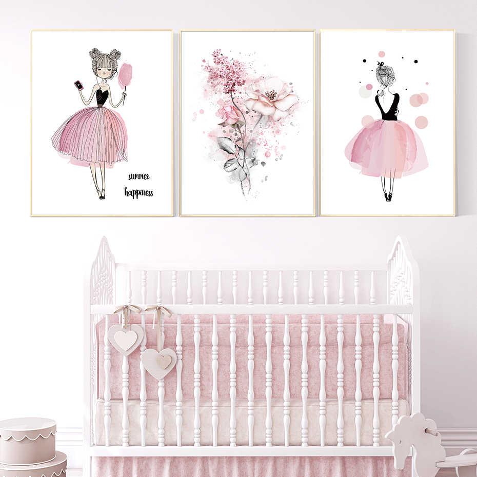 Aquarell Rosa Kawaii Mädchen Poster Kinderzimmer Dekor Blume Leinwand  Gemälde Druck Wand Kunst Bilder Geschenke Kinder Zimmer Home Decor