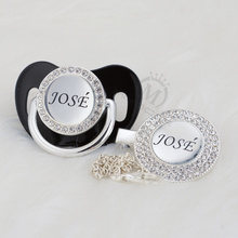 MIYOCAR custom any name photo bling silver pacifier and clip collection BPA free dummy unique design P8-1w