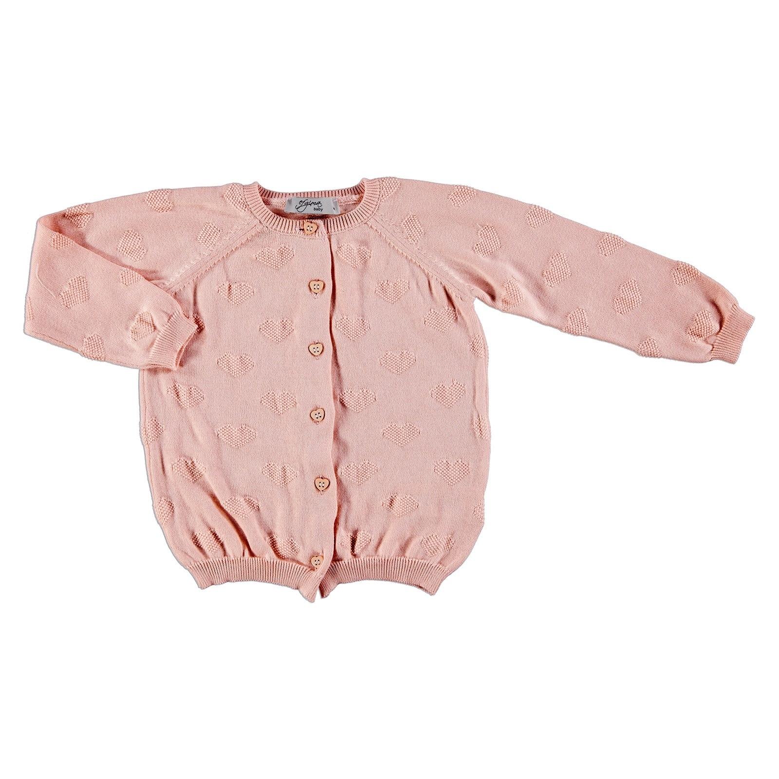 Ebebek Efgima Baby Winter Jacquard Heart Buttoned Knit Cardigan