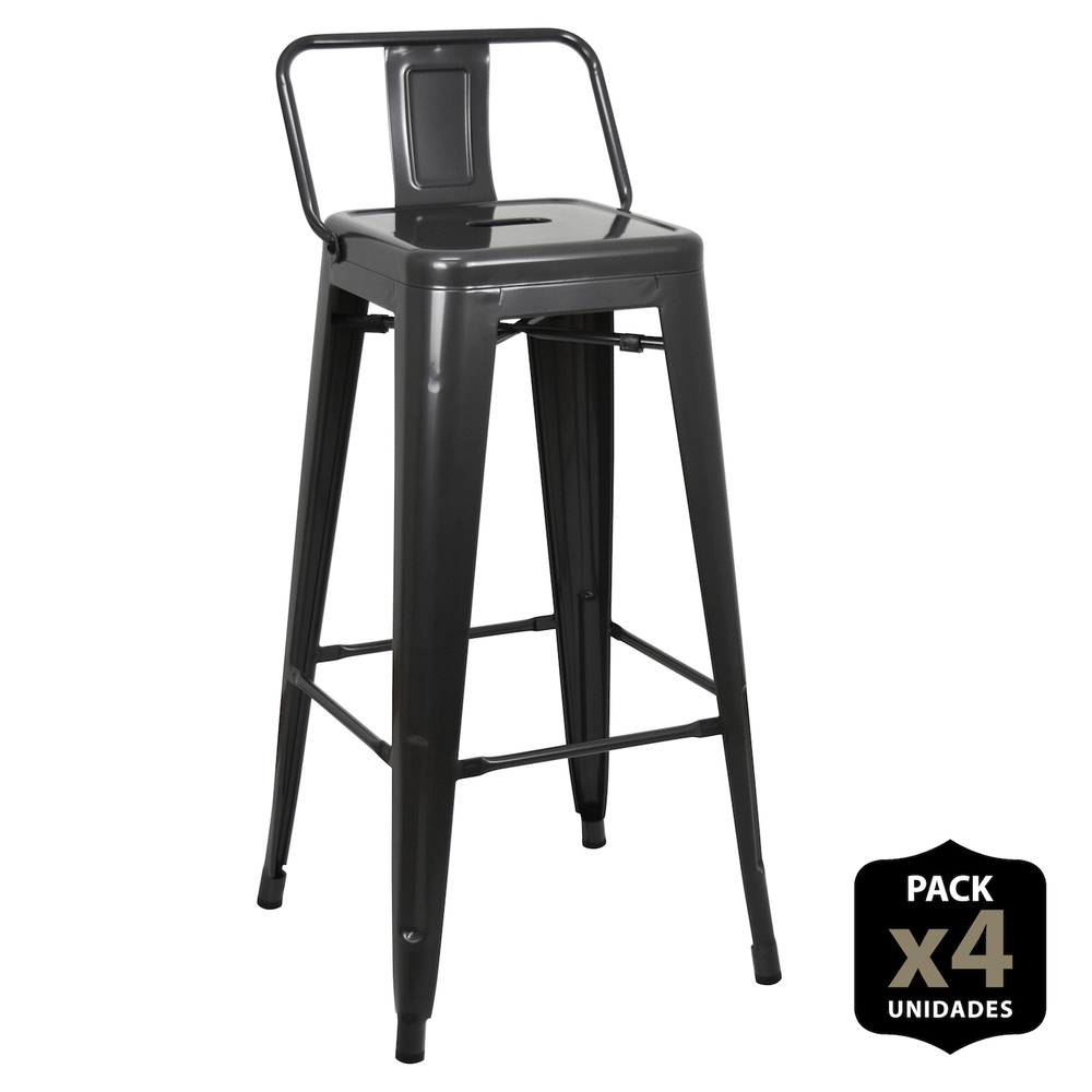 Pack 4 Stools Tudix With Backrest-43X43X93 Cm-Gun Metal-4 PCs